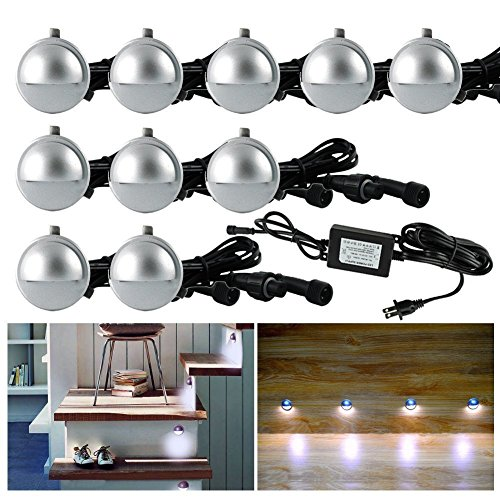 FVTLED-10-Pack-LED-Stair-Lights-Kit-Low-Voltage-Waterproof-IP65-Outdoor-Half-Moon-1-25-Recessed-Wood-Deck-Lighting-Yard-Garden-Patio-Step-Landscape-Pathway-LED-Light