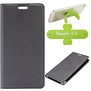 DMG Premium PU Leather Flip Cover Case for Huawei Honor 5X (Black) + Touch U Mobile Stand