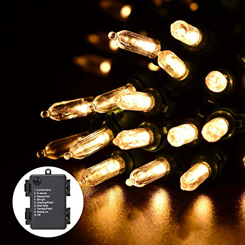 RECESKY Battery Operated Christmas String Lights 50 LED 22.6ft Waterproof Xmas Tree Decor with 8 Modes Lighting for Outdoor, Indoor, Holiday, Party, Wreath, Christmas Decorations (Warm White)
