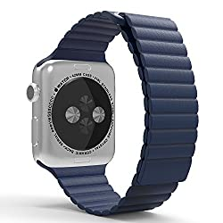 Apple Watch Band, MoKo Premium Soft Leather Loop Band with Strong Adjustable Magnetic Closure for 42mm Apple Watch Models, Midnight BLUE (Not Fit 38mm Version 2015)