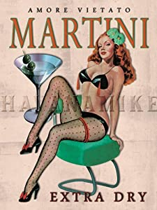 """Amore MARTINI Extra Dry Vintage Style BAR ART Pinup Girl Poster Print - measures 18"""" wide x 24"""" high (458mm wide x 610mm high)"""