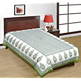 White And Green Color Designer Print Pure Cotton Single Bedsheet