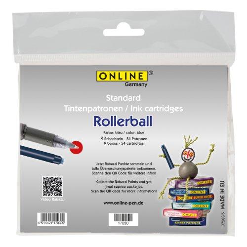 Online 17030 Lot de 9 cartouches d'encre pour stylo roller Bleu