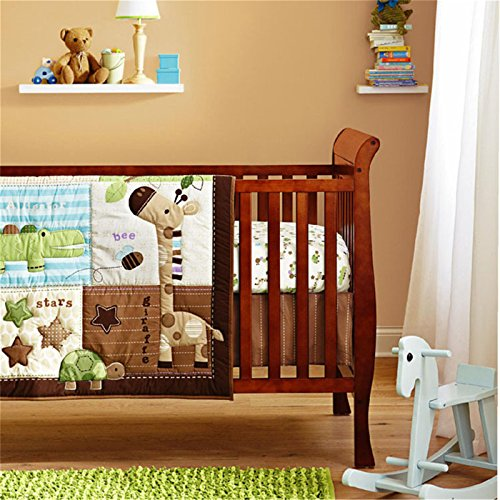 Home Feeling Embroidery Series Giraffe And Turtle 4 Piece Crib Bedding Sets