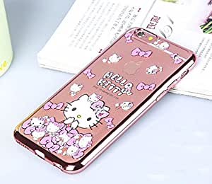 iPhone 6 Plus & iPhone 6s Plus Back Cover - Premium Quality Hello Kitty with Bow Printed Anti-Scratch Nano Plated Clear Back Case with Bling Diamond Crystal Transparent Soft Slim iPhone 6 Plus & iPhone 6s Plus - Rose Gold