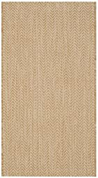 Safavieh Courtyard Collection CY8022-03012 Natural and Cream Indoor/ Outdoor Runner, 2 feet 3 inches by 12 feet (2\'3\