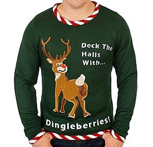 Reindeer Dingleberries Sweater in Green - Ugly Christmas Sweater