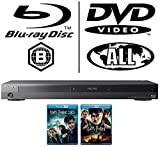 Sony BDPS7200 4K 3D Blu-ray Disc Player with Super Wi-Fi Supplied - MultiRegion For DVD PlayBack(DVD Side) + Sony 2M HDMI Cable + Harry Potter And The Deathly Hallows Part 1 And Part 2 Blu Ray Discs in 3D