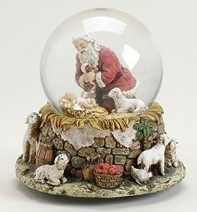 Kneeling Santa at Manger Musical 5.5 Inch Waterglobe Figure