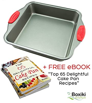 "Non-Stick Steel 8-Inch Square Cake Pan by Boxiki Kitchen | Durable, Convenient, Premium Quality No-Stick Baking Mold Cookware | Square Cake Pan 8"" x 8"" x 2"", w/ Red Silicone Handles"