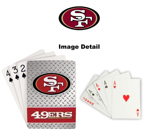 San Francisco 49ers NFL Team Logo Standard Size Diamond Plate Pattern Poker Blackjack Crazy Eights Speed Playing Cards - 52 Card Deck Plus 2 Jokers
