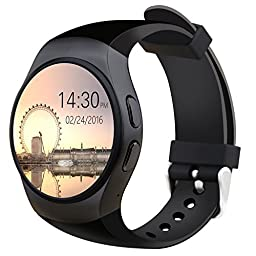 Bluetooth Smart Watch Phone KW18 Sim And TF Card Heart Rate Reloj Smartwatch Wearable Compatible For IOS Apple iPhone 5s/6/6s/SE Android Samsung HTC Sony LG Smartphones (Black)