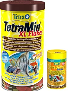 TetraMin XL Flockenfutter für Zierfische 1L plus Tetra Delica Menu 100ml GRATIS, 1er Pack (1 x 1,1l)