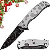 Grand Way Pocket Folding Knife for Men - Camo Knifes for Outdoor Military Utility Tactical Survival - Best Flip EDC Self Defense Knives for Army Camping Work & Hiking 01297 (Color: Grey 5, Tamaño: Medium)
