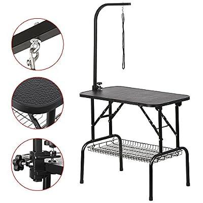 """tinkertonk Adjustable 32"""" Foldable Dog Grooming Table W/Loop Noose Arm In Black"""