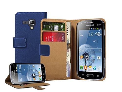 Membrane - Blau Brieftasche Klapptasche Hülle Samsung Galaxy Trend Plus (GT-S7580) - Wallet Flip Case Cover Schutzhülle
