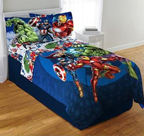 Marvel Avengers Blue Circle Twin/Full Comforter & Twin Sheet Set (Captain America In Bedding compare prices)