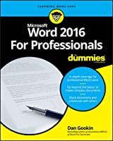 Word 2016 For Professionals For Dummies Front Cover