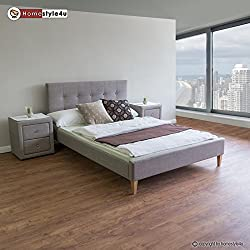 Homestyle4u Polsterbett Doppelbett Stoffbett Bettgestell 180 x 200 + Lattenrost Bett grau
