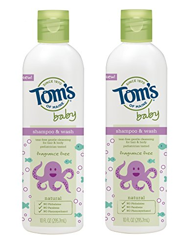 Tom's of Maine Natural Baby Shampoo and Wash, Fragrance Free, 10 Ounce, 2 Count