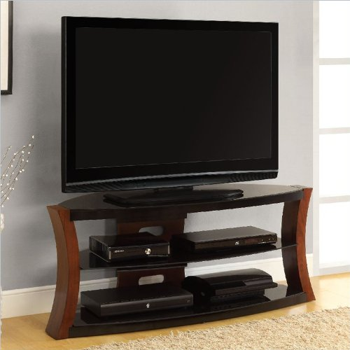 Altra Furniture Bentwood and Glass TV Stand in Cherry/Black image B00AAA3UZM.jpg