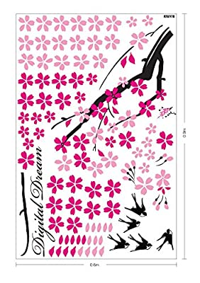 Ode-Rin Pink Flower Lovely Birds Digital Dream Removable Mural Wall Stickers Wall Decal for Home Decor
