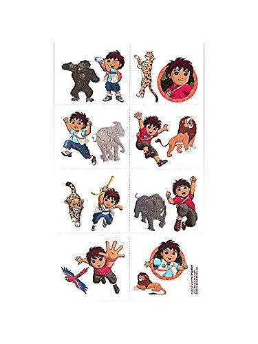 "Cool Diego's Biggest Rescue Temporary Tattoos Birthday Party Favor (16 Piece), -2 x 1-3/4"", Multi - 1"