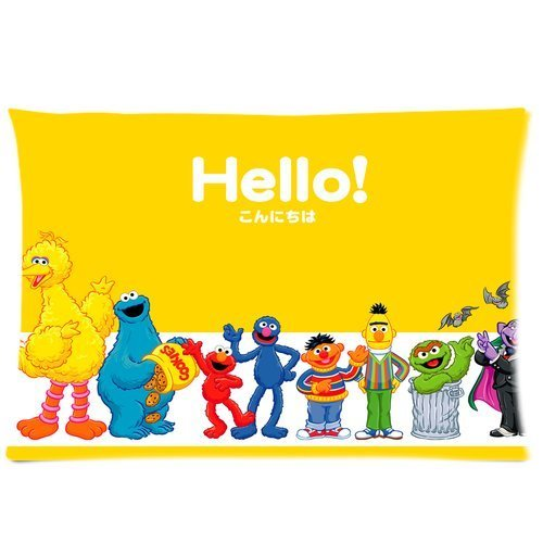 "Cartrol Cotton & Polyester Custom Pillowcase-Sesame Street ""Hello"" Custom Rectangle Pillow Cases 20X30 (One Side) front-1084145"