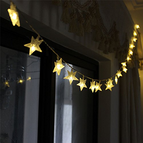 TINNZTES New Warm White 4m/13ft 40 LED Star Light Fairy String Light for Christmas (Warm White)