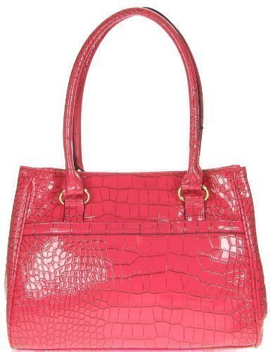 bueno-sac-a-main-porte-epaule-vernis-croco-4-differents-couleurs-large-rose-synthetique