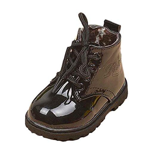 Amlaiworld Scarpe di moda inverno Martin Boot Per 1~6 anni (1~2 anni, Nero)