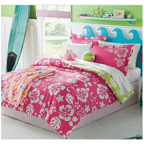 Pink White Hawaiian Hibiscus Girls Twin Comforter Set 6 P
