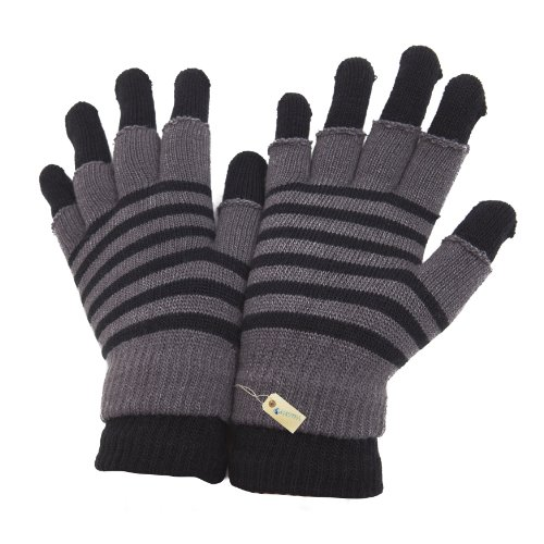 Ladies/Womens 2 In 1 Striped Thermal Magic Gloves (fingerless and full fingered)