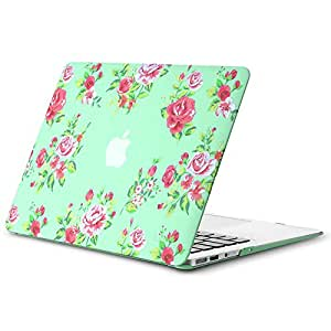 """Kuzy Vintage Flowers Rubberized Hard Case for MacBook Air 13.3"""" (A1466 & A1369) - Mint GREEN"""