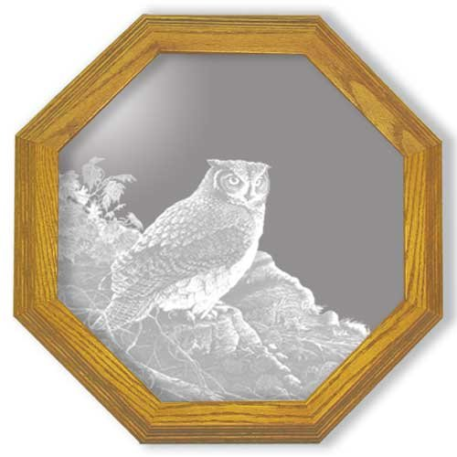 Decorative Framed Mirror Wall Decor With Great Horned Owl Etched Mirror - Great Horned Owl Decor - Unique GreatB00011FKZI