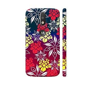Colorpur Floral Design On Red Blue Designer Mobile Phone Case Back Cover For Motorola Moto G4 / Moto G4 Plus | Artist: Sangeetha