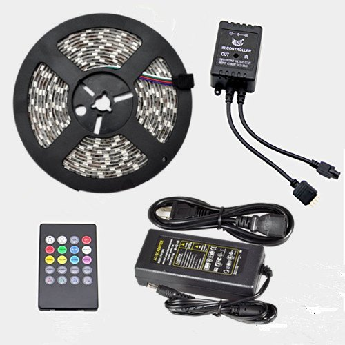 Dqdf Ir Music Sound Activated 5M 5050 Rgb 150 Led Waterproof Strip Light With 20Key Music Ir Remoter Controller And 12V 5A Adaptor For Chrismas Party Wedding (150 Leds, Waterproof, 20Key)