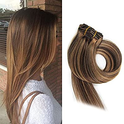 BETTY Clip In Human Hair Extensions 15 18 20 22 Inch 7pcs 70g Set Silky Straight Human Remy Hair Omber Color