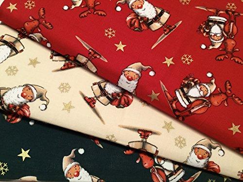 The Craft Junction-Fat Quarter Bundle 100% cotone tessuto natalizio verde rosso crema oro Santa Craft bandierine quilting