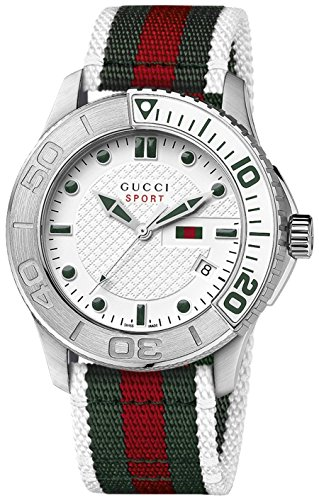 Gucci Men's 45mm White Nylon Stainless Steel Case Quartz Watch YA126231