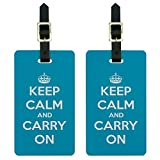 Keep Calm and Carry On Blue Luggage Suitcase Carry-On ID Tags Set of 2