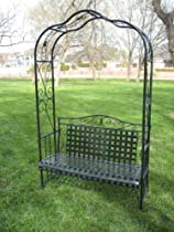 Big Sale MANDALAY IRON PATIO ARBOR BENCH in ANTIQUE BLACK - PATIO FURNITURE