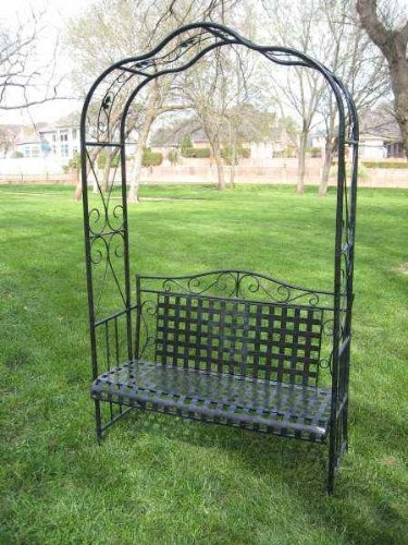 MANDALAY IRON PATIO ARBOR BENCH in ANTIQUE BLACK – PATIO FURNITURE