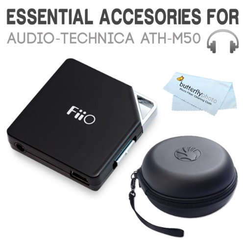 Must Have Accessories Bundle Kit For Audio-Technica Ath-M50, Ath-M50X Professional Studio Monitor Headphones Includes Fiio E6 Portable Headphone Amplifier + Slappa Sl-Hp-01 Headphone Case