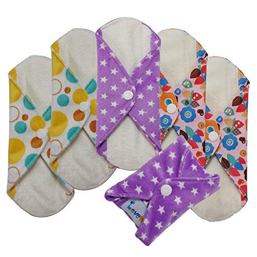 Love-My-MamaGirlMaidenAntibacterial-Bamboo-fiber-Menstrual-Pads-Reusable-Panty-Liners-6pcs-pack-Small-size