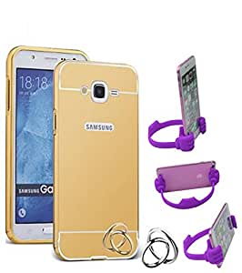 Aart Luxury Metal Bumper + Acrylic Mirror Back Cover Case For Samsung J7 Gold+ Flexible Portable Mount Cradle Thumb OK Designed Stand Holder