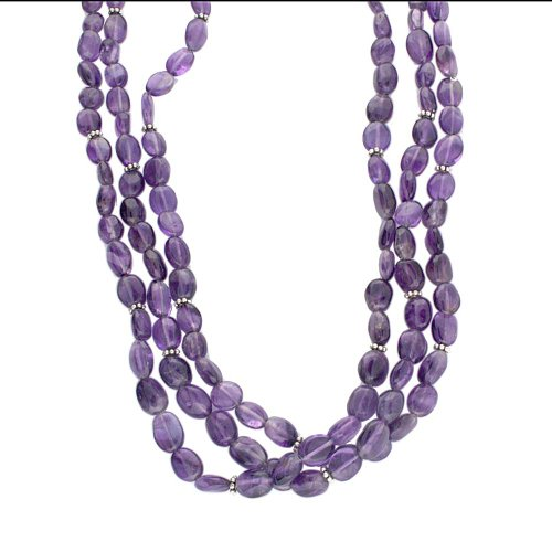 Sterling Silver 18 Inch, 3 Strand Amethyst Bead Necklace