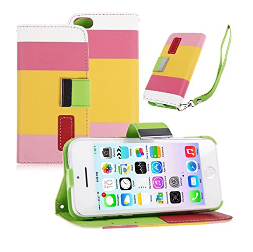 Mylife (Tm) Lemonade Pink And Sunburst Yellow Stripes {Modern Design} Faux Leather (Card, Cash And Id Holder + Magnetic Closing + Hand Strap) Slim Wallet For The Iphone 5C Smartphone By Apple (External Textured Synthetic Leather With Magnetic Clip + Inter