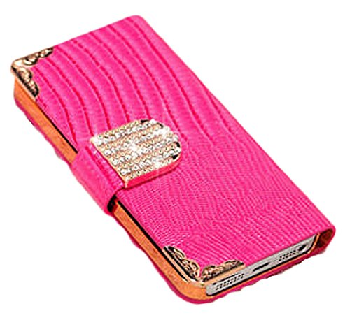 Mylife Berry Pink - Chrocodile Design - Textured Koskin Faux Leather (Card And Id Holder + Magnetic Detachable Closing) Slim Wallet For Iphone 5/5S (5G) 5Th Generation Smartphone By Apple (External Rugged Synthetic Leather With Magnetic Clip + Internal Se