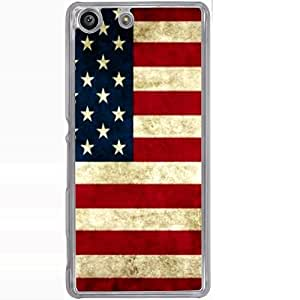 Casotec USA Flag Design 2D Hard Back Case Cover for Sony Xperia M5 - Clear